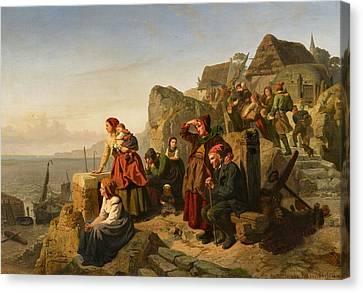 Fisher Families On The Coast Canvas Print by Rudolf Jordan