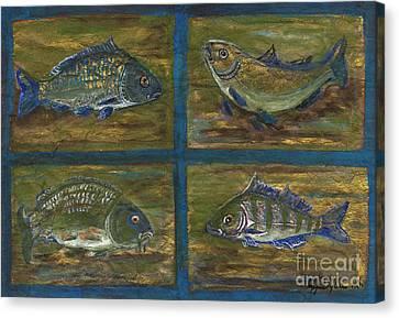 Ryby W Sztuce Canvas Print - 4 Fishes by Anna Folkartanna Maciejewska-Dyba