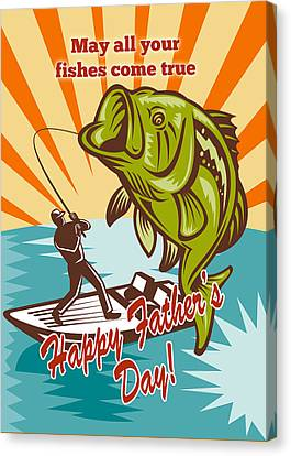 Fly Fisherman On Boat Catching Largemouth Bass Canvas Print by Aloysius Patrimonio