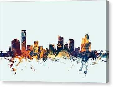 Rapids Canvas Print - Grand Rapids Michigan Skyline by Michael Tompsett