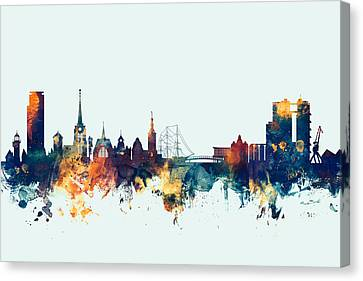 Halmstad Sweden Skyline Canvas Print by Michael Tompsett