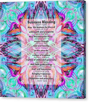 Judaica Canvas Print - Hebrew And English Business Blessing by Sandrine Kespi