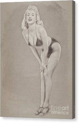 Hepburn Canvas Print - Jayne Mansfield Hollywood Actress And Pinup by Frank Falcon