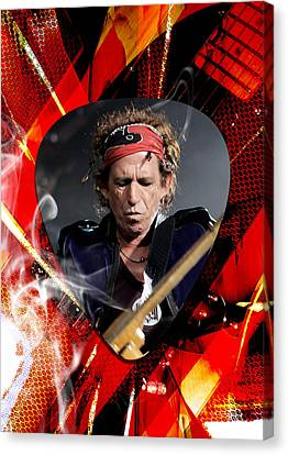 Electric Guitar Canvas Print - Keith Richards Art by Marvin Blaine