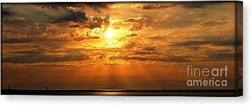 Lake Erie Sunset Canvas Print by Lila Fisher-Wenzel
