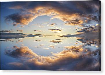 Large Vibrant Panorama Image Of Stormy Sunset Sky With Reflectio Canvas Print by Matthew Gibson