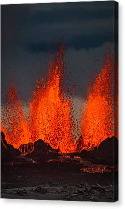 Volcano Rock Canvas Print - Lava Fountains At The Holuhraun Fissure by Panoramic Images