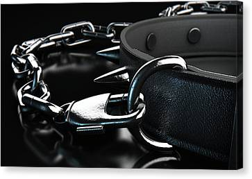 Black Tie Canvas Print - Leather Studded Collar And Chain by Allan Swart