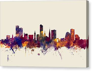 Leicester England Skyline Canvas Print by Michael Tompsett