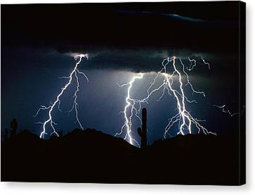 4 Lightning Bolts Fine Art Photography Print Canvas Print by James BO  Insogna
