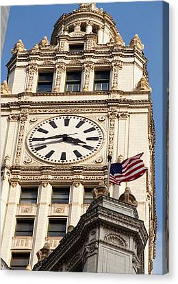 Low Angle View Of A Clock Tower Canvas Print