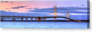 Mackinac Bridge In Evening Canvas Print by Twenty Two North Photography
