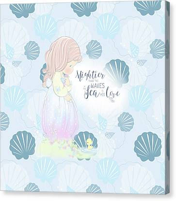 Mightier Than The Waves Canvas Print by Precious Moments