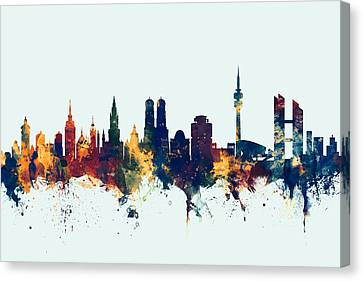 Munich Germany Skyline Canvas Print by Michael Tompsett