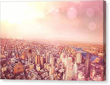 Nyc Rooftop Canvas Print - New York City Skyline by Vivienne Gucwa