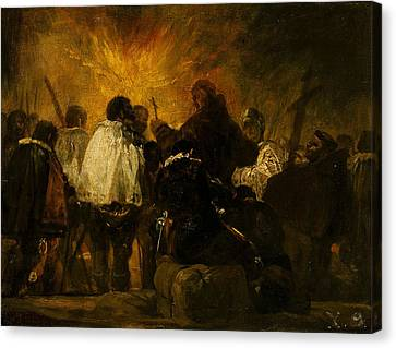 Night Scene From The Inquisition Canvas Print by Francisco Goya