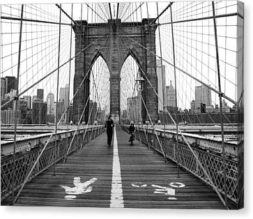 Street Art Canvas Print - Nyc Brooklyn Bridge by Nina Papiorek