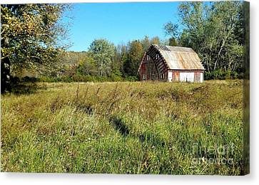 Southern Indiana Autumn Canvas Print - Old Barn In The Meadow by Scott D Van Osdol