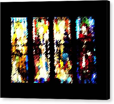 Canvas Print featuring the digital art 4 Panels Of Seville Abstract by Donna Corless