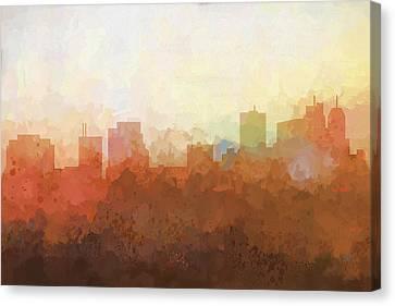 Canvas Print featuring the digital art Parsippany New Jersey Skyline by Marlene Watson