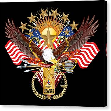 Patriotic America Mixed Designs W-transparent Back Pick Your Color Canvas Print by Bill Campitelle