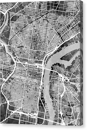 Pennsylvania Canvas Print - Philadelphia Pennsylvania Street Map by Michael Tompsett