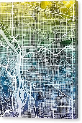 Portland Oregon City Map Canvas Print by Michael Tompsett