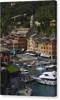 Cruise Ship Canvas Print - Portofino In The Italian Riviera In Liguria Italy by David Smith