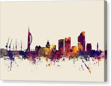 Portsmouth England Skyline Canvas Print