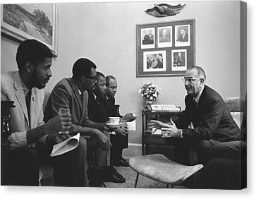 Democrats Canvas Print - President Lyndon Johnson Meeting by Everett