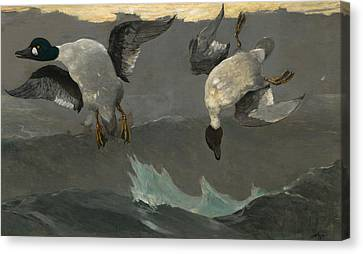 Swoop Canvas Print - Right And Left by Winslow Homer