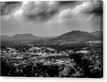 Roanoke City As Seen From Mill Mountain Star At Dusk In Virginia Canvas Print by Alex Grichenko