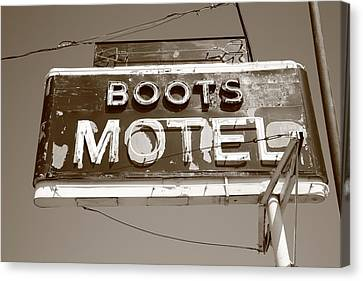Route 66 - Boots Motel Canvas Print by Frank Romeo