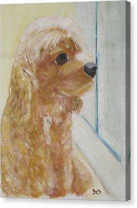 Canvas Print featuring the painting Rusty Aka Digger Dog by Patricia Cleasby