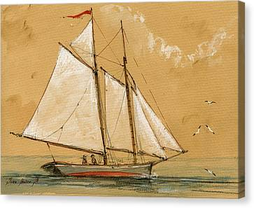 Sail Ship Watercolor Canvas Print