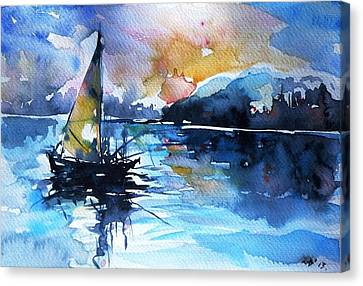 Canvas Print featuring the painting Sailboat by Kovacs Anna Brigitta