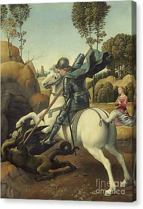 Armor Canvas Print - Saint George And The Dragon by Raphael
