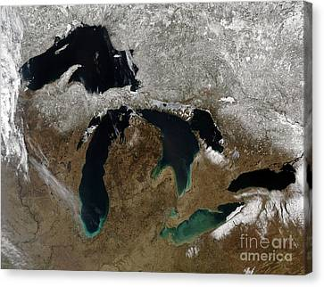Satellite View Of The Great Lakes Canvas Print
