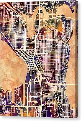 Seattle Washington Street Map Canvas Print by Michael Tompsett