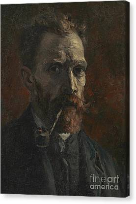 Self Portrait With Pipe Canvas Print by Vincent Van Gogh