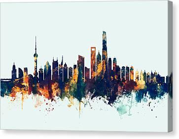 Shanghai China Skyline Canvas Print by Michael Tompsett