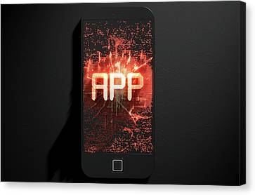 Smart Phone Emanating App Canvas Print