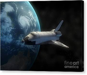 Space Shuttle Backdropped Against Earth Canvas Print by Carbon Lotus