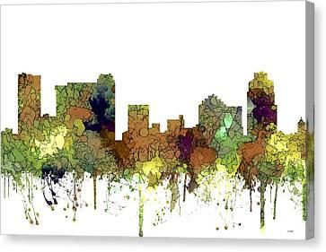 Canvas Print featuring the digital art St Petersburg Florida Skyline by Marlene Watson