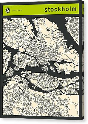 Stockholm Street Map Canvas Print by Jazzberry Blue