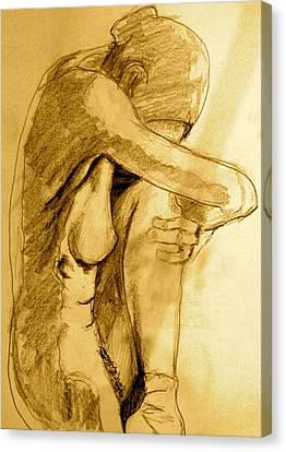 Nude Drawings Canvas Print - Studio Sketch by Dan Earle