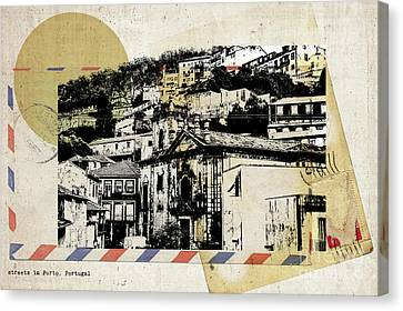 Canvas Print featuring the digital art stylish retro postcard of Porto  by Ariadna De Raadt