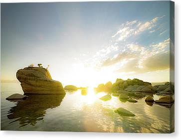 Bonsai Canvas Print - Sunset At Bonsai Rock by Peter Irwindale