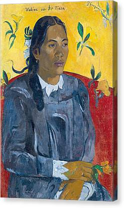 Tahitian Woman With A Flower Canvas Print by Paul Gauguin