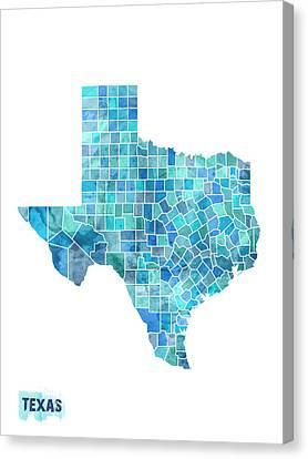 Texas Watercolor Map Canvas Print by Michael Tompsett